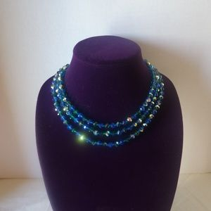 Vintage Blue Aurora Borealis Necklace in Jewelry